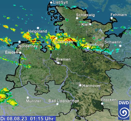 Regenradar Niedersachsen